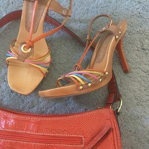 Vintage Strappy Wood Heeled Sandal